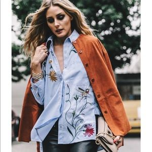 Zara Striped Embroidered Floral Poplin Shirt